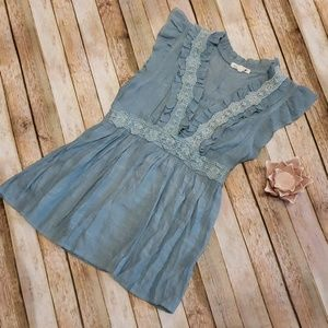 Anthropologie blue ruffle tank top